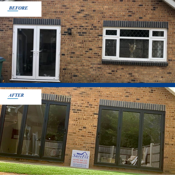 Bi-fold doors Hampshire Before and After
